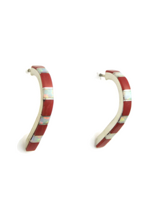 Mediterranean Coral & Opal Inlay Long Hoop Earrings