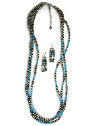 "Three Strand Turquoise Silver Bead Necklace Set 36"" Set"