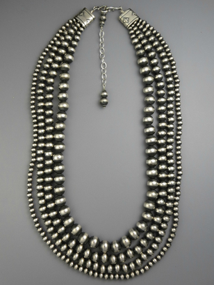 "Four Strand Graduated Silver Bead Necklace 20"" with Extender"