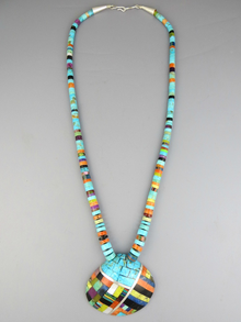 Turquoise & Gemstone Inlay Clam Shell Heishi Necklace (NK3432)