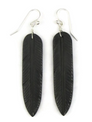 Jet Feather Slab Earrings by Ronald Chavez (ER3810)