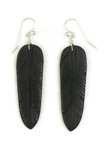 Jet Feather Slab Earrings by Ronald Chavez (ER3811)