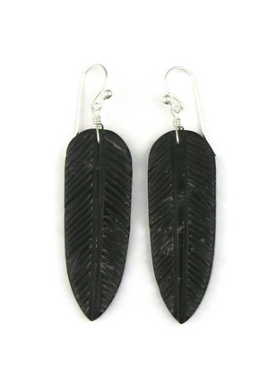 Jet Feather Slab Earrings by Ronald Chavez (ER3812)