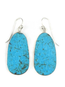 Silver & Turquoise Slab Earrings by Ronald Chavez (ER3887)