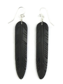 Jet Feather Slab Earrings by Ronald Chavez (ER3869)