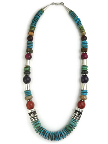 """Turquoise & Gemstone Bead Necklace 21"""" by Rose Singer"""