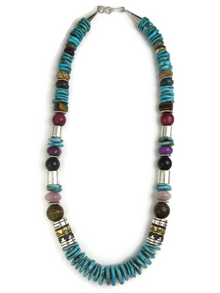 """Turquoise & Gemstone Bead Necklace by Rose Singer 21 1/4"""""""