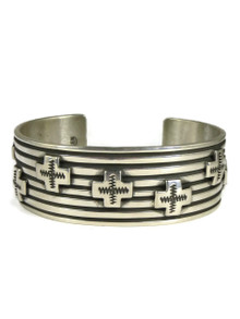 Silver Cross Cuff Bracelet by Albert Jake