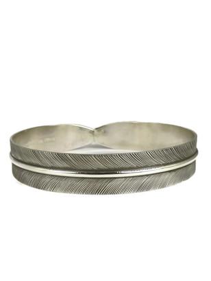 "Silver Feather Bangle Bracelet 1/2"" by Lena Platero"
