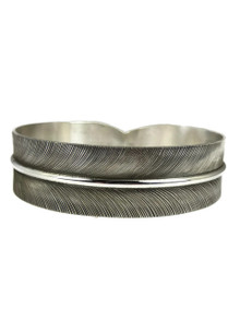 "Silver Feather Bangle Bracelet 3/4"" by Lena Platero"