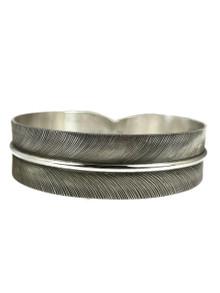 "Silver Feather Bangle Bracelet 3/4"" by Lena Platero"