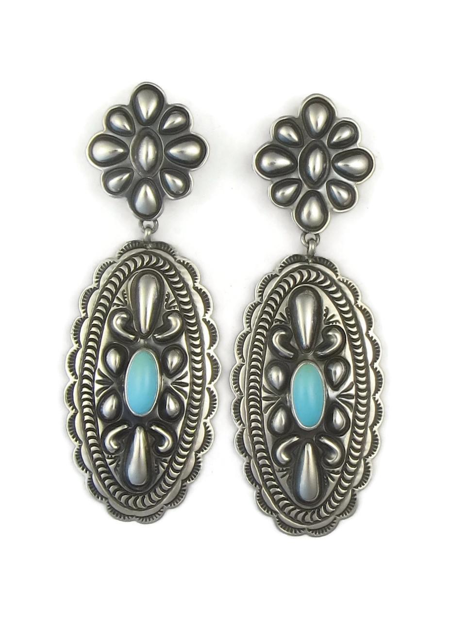 Sleeping Beauty Turquoise Concho Earrings By Tsosie White