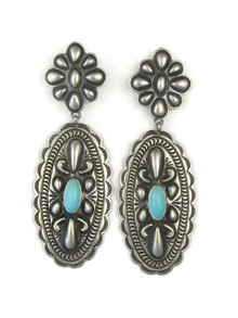 Sleeping Beauty Turquoise Concho Earrings by Tsosie White