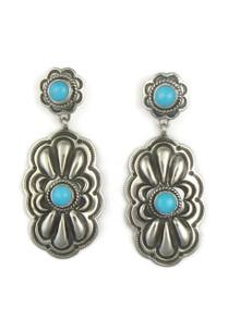 Sleeping Beauty Turquoise Concho Earrings by Tsosie White (ER3911)