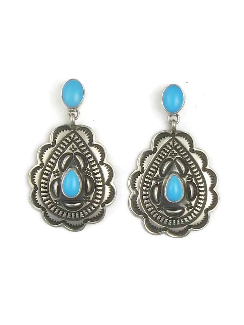 Sleeping Beauty Turquoise Silver Concho Earrings By Tsosie White