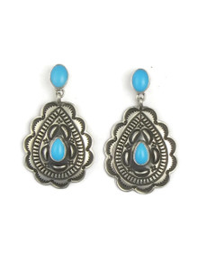 Sleeping Beauty Turquoise Silver Concho Earrings by Tsosie White