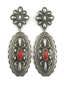 Mediterranean Coral Concho Earrings by Tsosie White