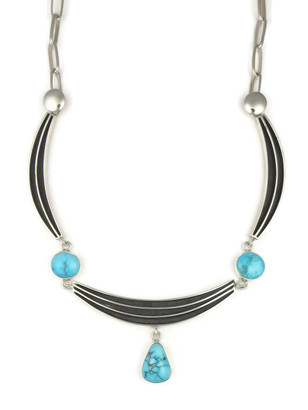Kingman Turquoise Silver Channel Necklace by Francis Jones