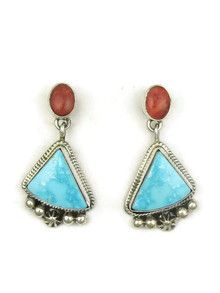 Kingman Turquoise &  Spiny Oyster Shell Earrings by Geneva Apachito