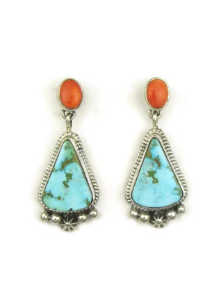 Kingman Turquoise & Spiny Oyster Shell Earrings by Geneva Apachito (ER3924)