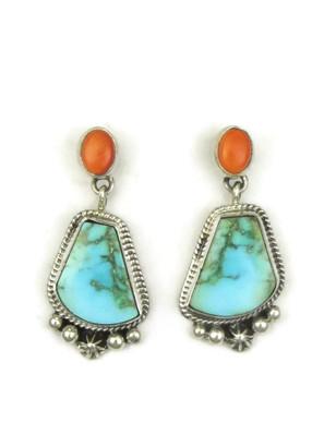 Kingman Turquoise & Orange Spiny Oyster Shell Earrings by Geneva Apachito