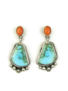Kingman Turquoise & Orange Spiny Oyster Shell Earrings by Geneva Apachito