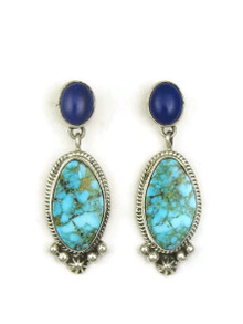 Kingman Turquoise & Lapis Earrings by Geneva Apachito
