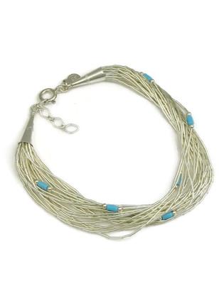 20 Strand Liquid Silver & Turquoise Heishi Bracelet