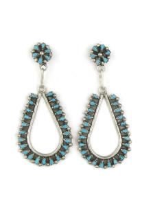 Turquoise Petit Point Loop Earrings by Zuni Tricia Leekity