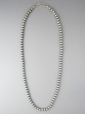 """Antiqued Sterling Silver 5mm Bead Necklace 26"""""""