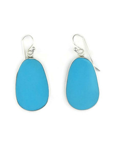 Silver & Turquoise Slab Earrings by Ronald Chavez (ER3489)