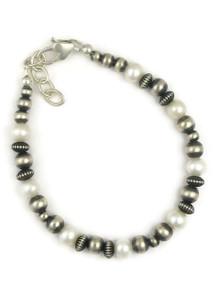 Silver Bead Pearl Bracelet