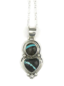 Boulder Turquoise Heart Pendant by Lucy Valencia (PD3345)