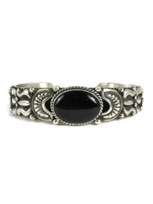 Silver Onyx Repousse Bracelet by Darryl Becenti (BR4215)