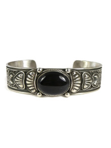 Silver Onyx Repousse Bracelet by Darryl Becenti (BR4216)