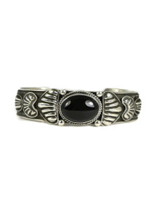 Silver Onyx Repousse Bracelet by Darryl Becenti (BR4217)