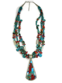 Turquoise & Gemstone Mosaic Inlay Bead Necklace by Daniel Coriz