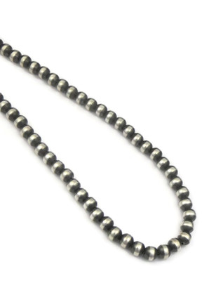 """Antiqued 7mm Silver Bead Necklace 16"""""""