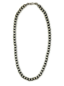 Antiqued 7mm Silver Bead Necklace 18""