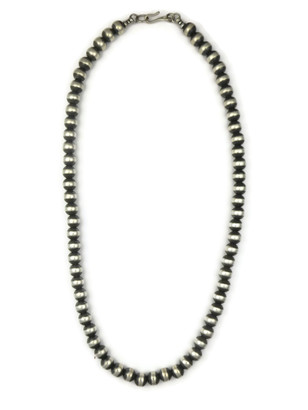 Antiqued 7mm Silver Bead Necklace 22""