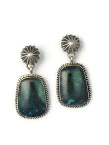 Green Nevada Turquoise Earrings by Geneva Apachito