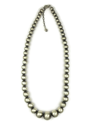 Graduated Satin Finish Silver Bead necklace with Extender Chain