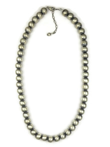 "Satin Finish 10mm Silver Bead Necklace 17"" with Extension Chain"