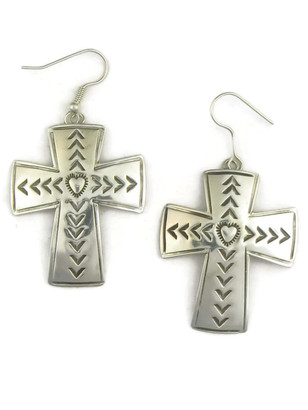 Silver Cross Earrings by Joe Piaso