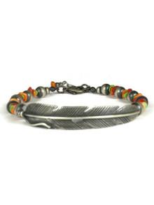 Silver Feather Spiny Oyster Gemstone Bead Bracelet