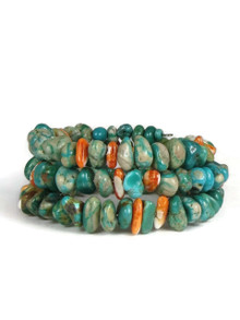 Turquoise & Spiny Oyster Shell Wrap Bracelet