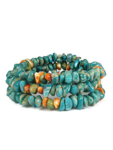 Turquoise & Spiny Oyster Shell Bead Wrap Bracelet (BR4225)