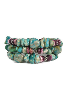 Turquoise & Purple Spiny Oyster Shell Bead Wrap Bracelet
