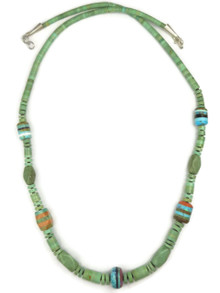 Turquoise Heishi Inlay Bead Necklace by Ronald Chavez