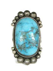Handmade Kingman Turquoise Ring Size 9 1/4 by Aaron Toadlena